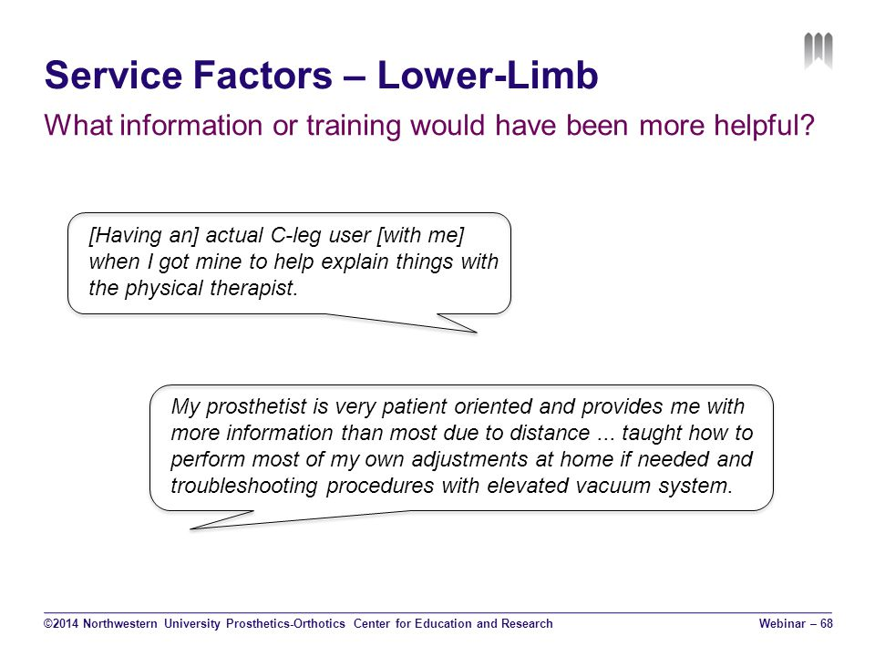 Service Factors – Lower-Limb