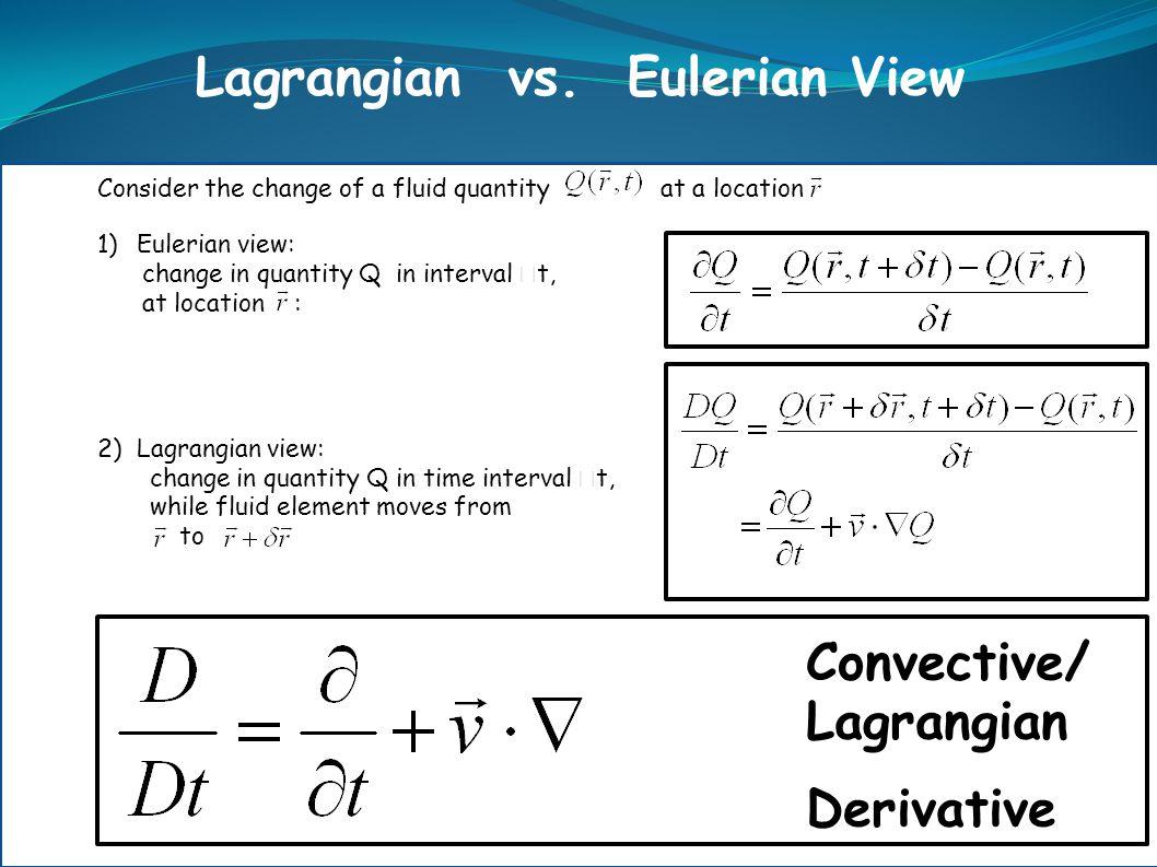 Convective/ Lagrangian Derivative Lagrangian vs. Eulerian View