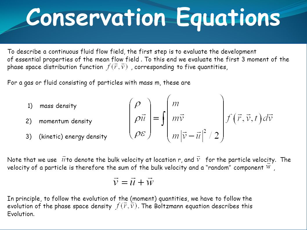 Conservation Equations