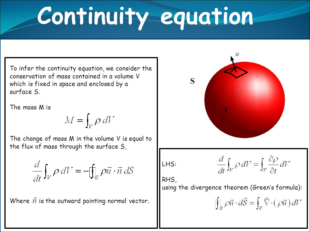 Continuity equation S V n