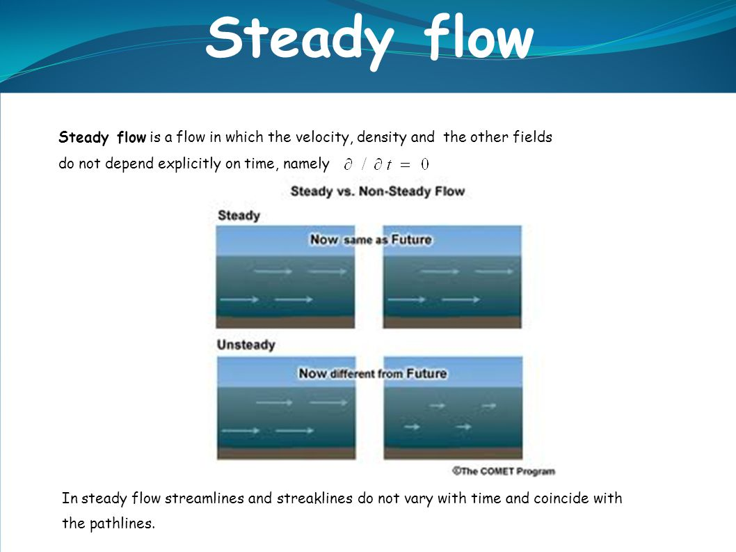 Steady flow Steady flow is a flow in which the velocity, density and the other fields. do not depend explicitly on time, namely.