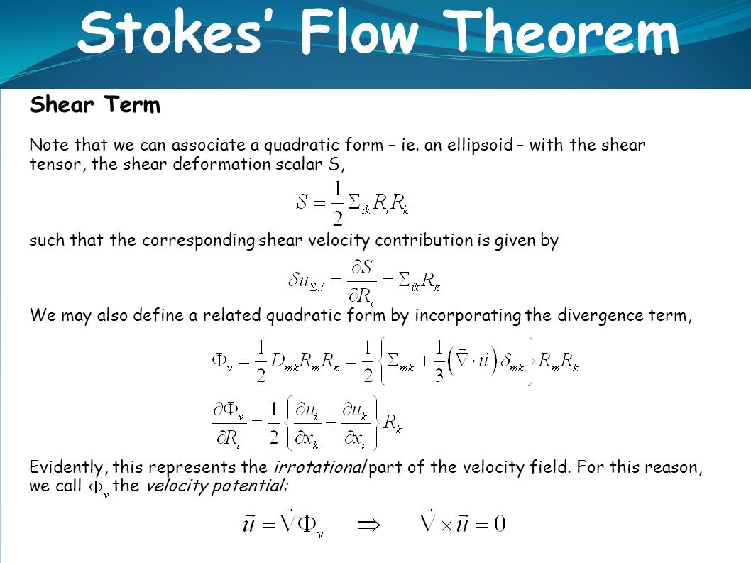 Shear Term Stokes' Flow Theorem