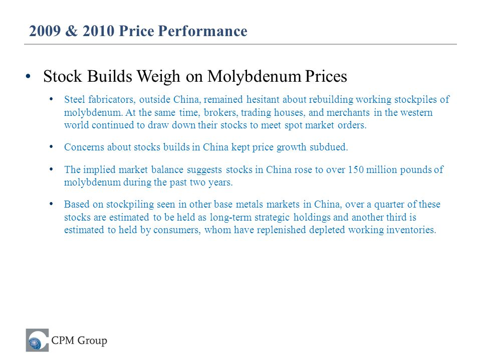 Stock Builds Weigh on Molybdenum Prices