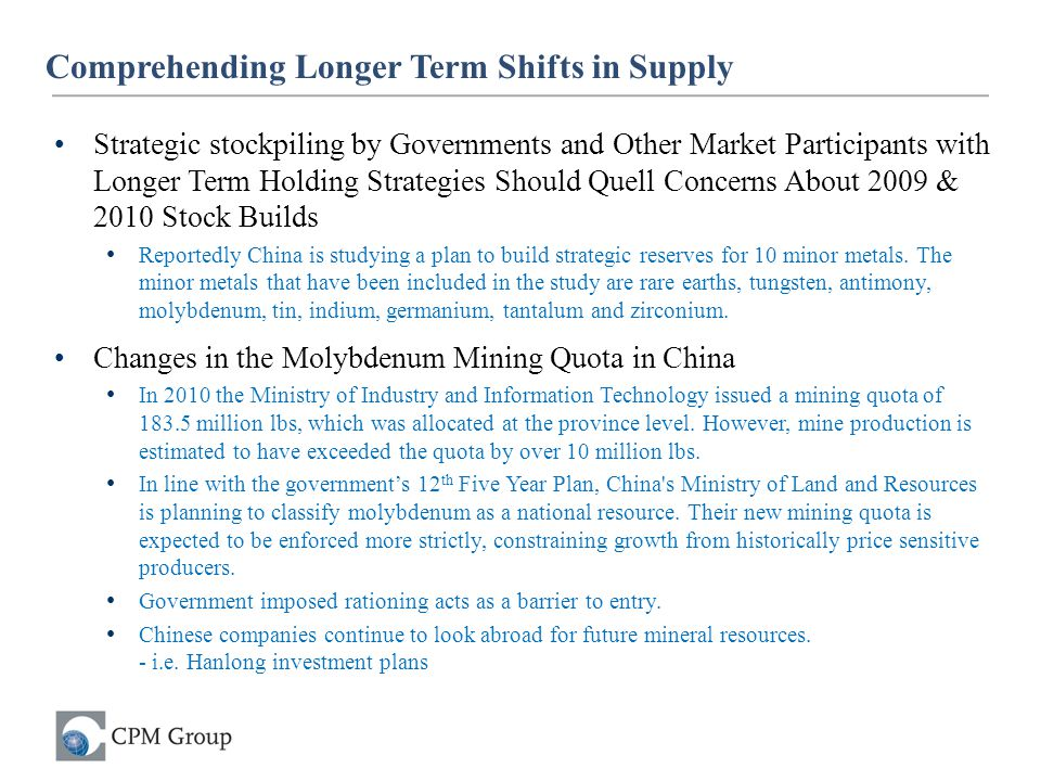Comprehending Longer Term Shifts in Supply