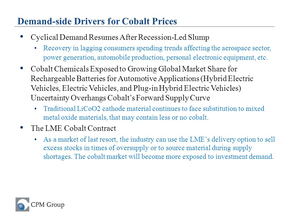 Demand-side Drivers for Cobalt Prices