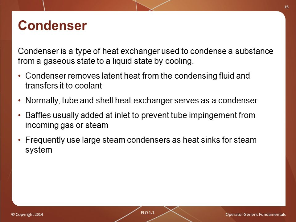 Condenser Condenser is a type of heat exchanger used to condense a substance from a gaseous state to a liquid state by cooling.