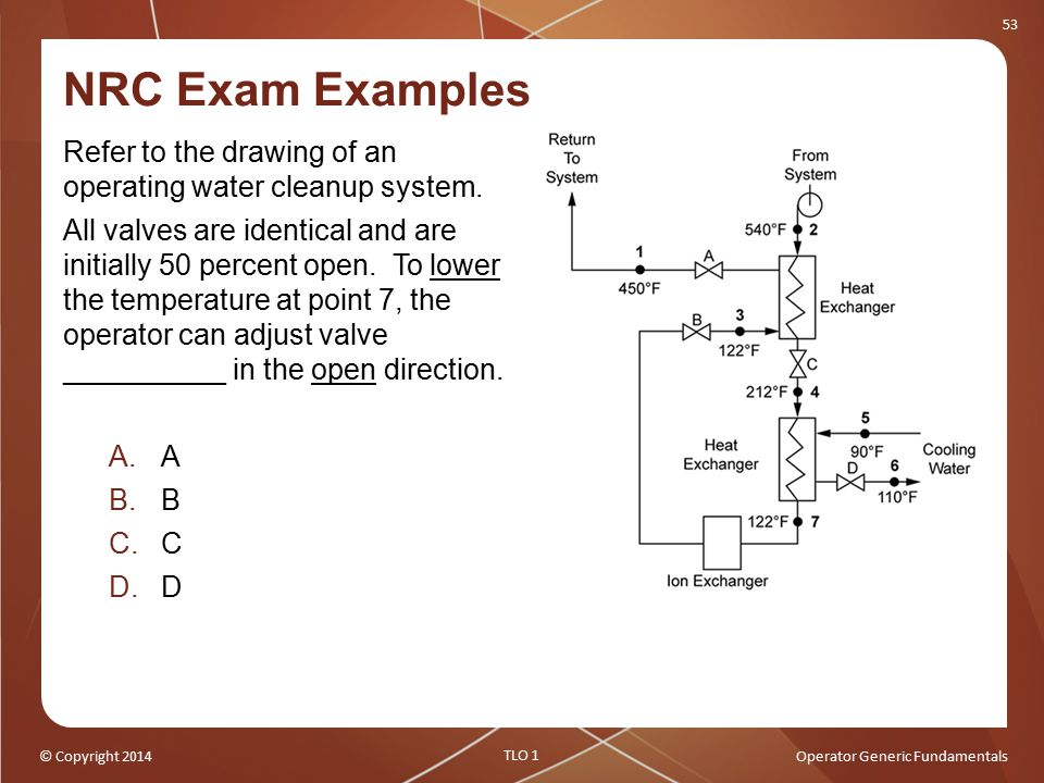NRC Exam Examples Refer to the drawing of an operating water cleanup system.