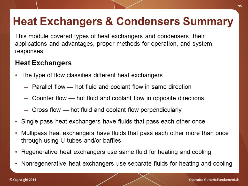 Heat Exchangers & Condensers Summary