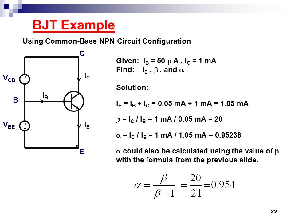 BJT Example Using Common-Base NPN Circuit Configuration C