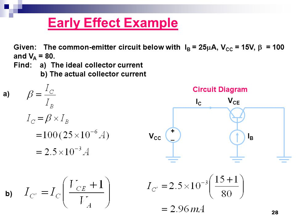 Early Effect Example Given: The common-emitter circuit below with IB = 25A, VCC = 15V,  = 100 and VA = 80.