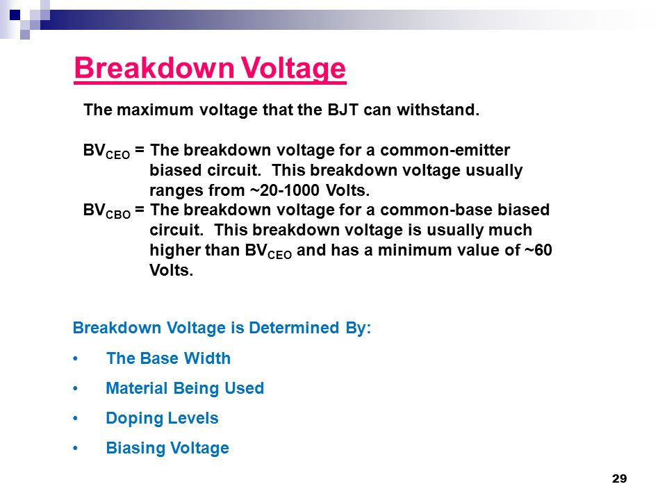 Breakdown Voltage The maximum voltage that the BJT can withstand.