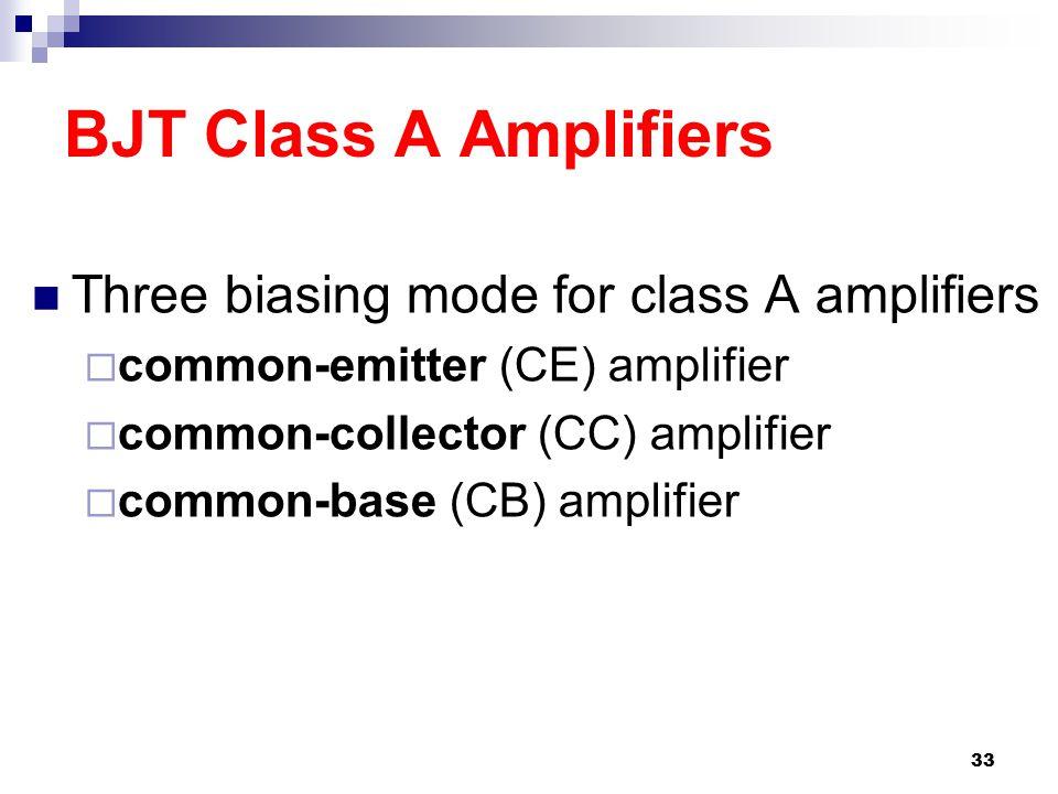 BJT Class A Amplifiers Three biasing mode for class A amplifiers