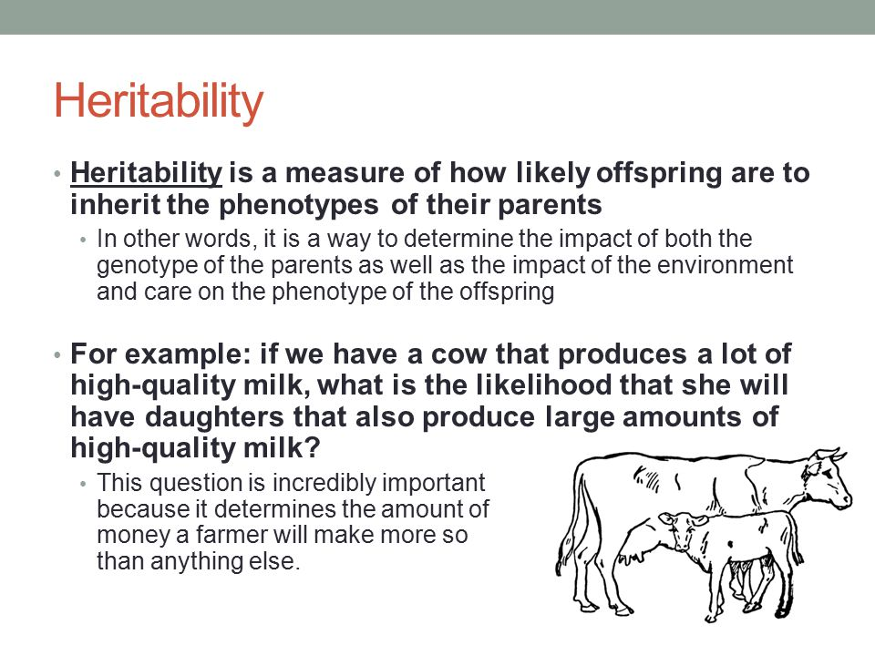 Heritability Heritability is a measure of how likely offspring are to inherit the phenotypes of their parents.