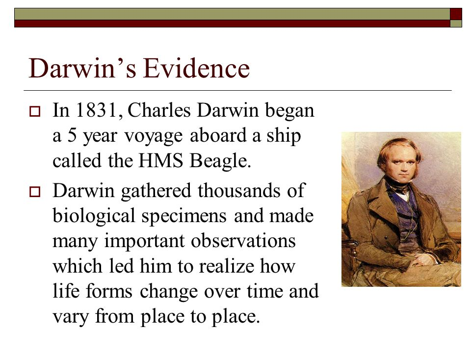 Darwin's Evidence In 1831, Charles Darwin began a 5 year voyage aboard a ship called the HMS Beagle.