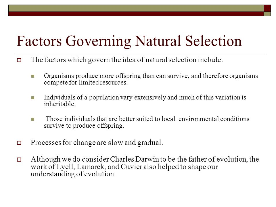 Factors Governing Natural Selection