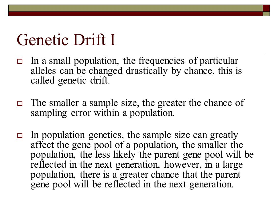 Genetic Drift I In a small population, the frequencies of particular alleles can be changed drastically by chance, this is called genetic drift.