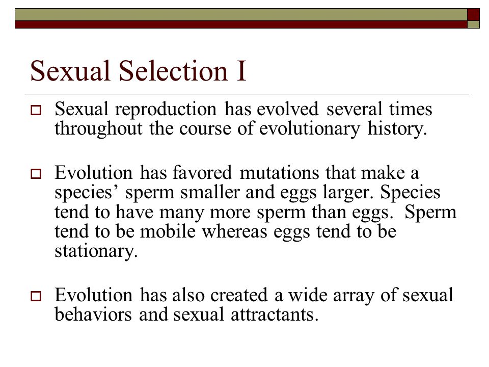 Sexual Selection I Sexual reproduction has evolved several times throughout the course of evolutionary history.