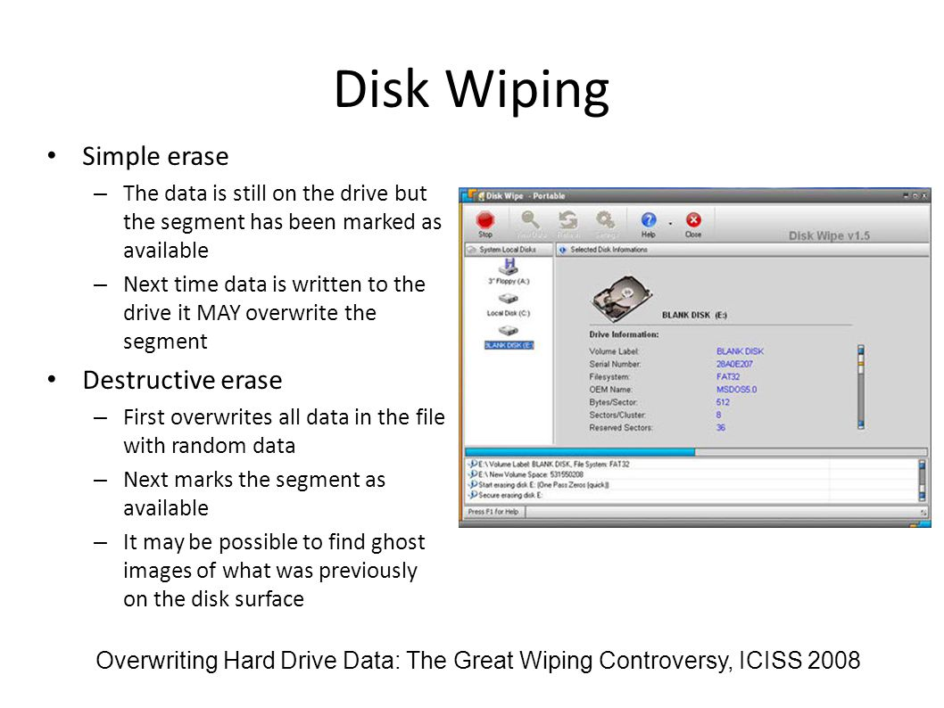 Disk Wiping Simple erase Destructive erase