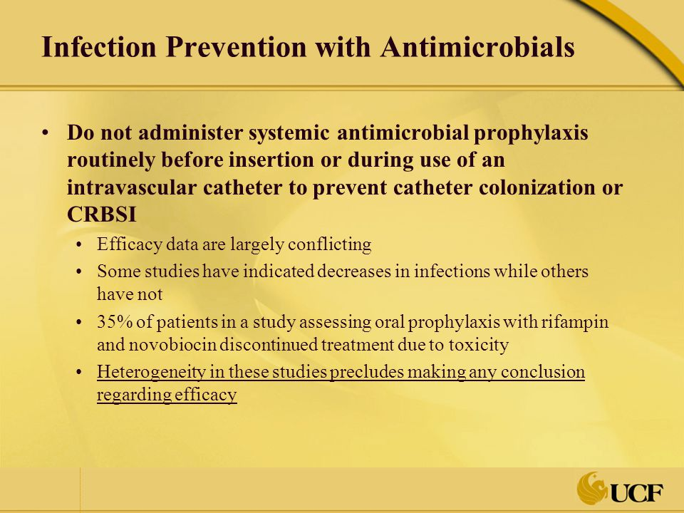 Infection Prevention with Antimicrobials