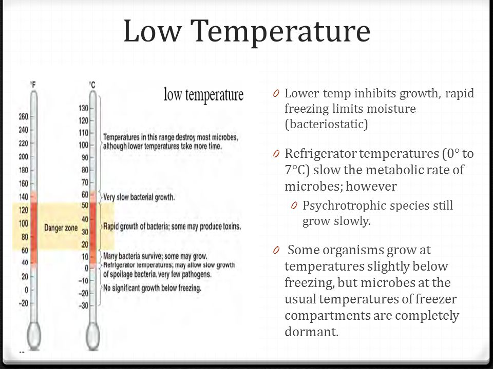 Low Temperature Lower temp inhibits growth, rapid freezing limits moisture (bacteriostatic)