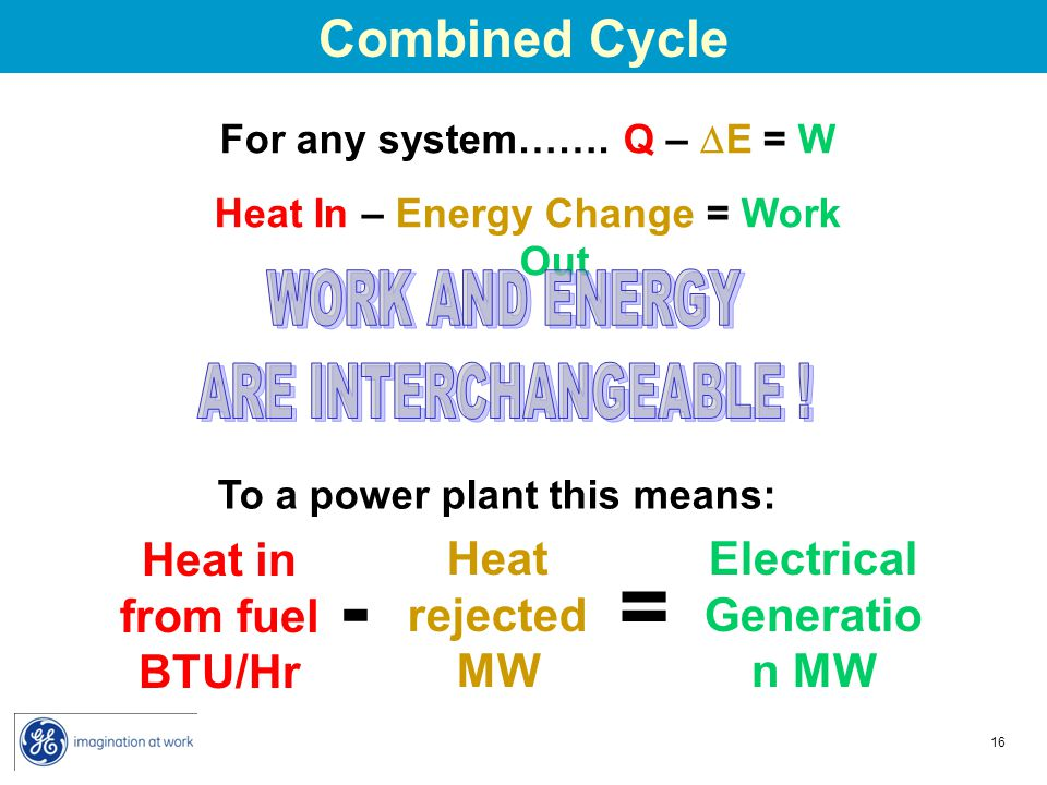 For any system……. Q – E = W Heat In – Energy Change = Work Out