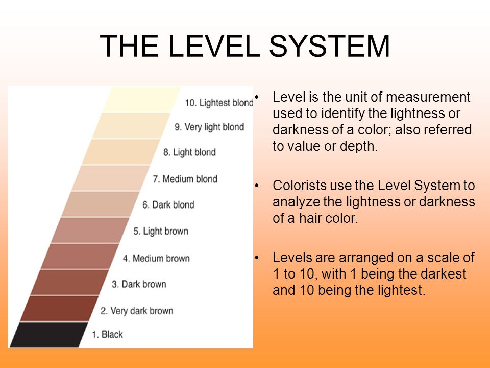THE LEVEL SYSTEM Level is the unit of measurement used to identify the lightness or darkness of a color; also referred to value or depth.