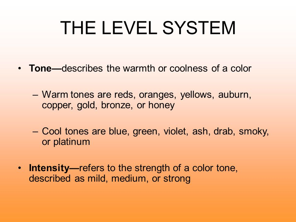 THE LEVEL SYSTEM Tone—describes the warmth or coolness of a color