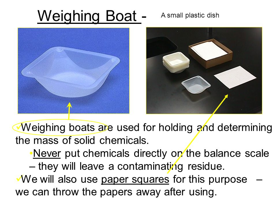 Weighing Boat - A small plastic dish. Weighing boats are used for holding and determining the mass of solid chemicals.