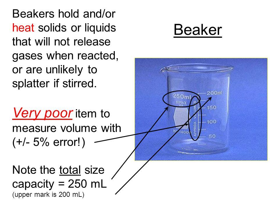 Beaker Very poor item to measure volume with (+/- 5% error!)
