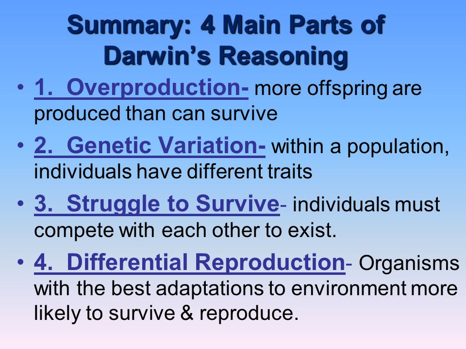 Summary: 4 Main Parts of Darwin's Reasoning