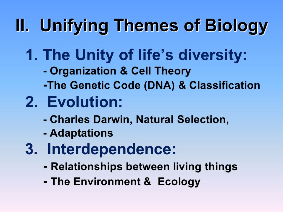 II. Unifying Themes of Biology