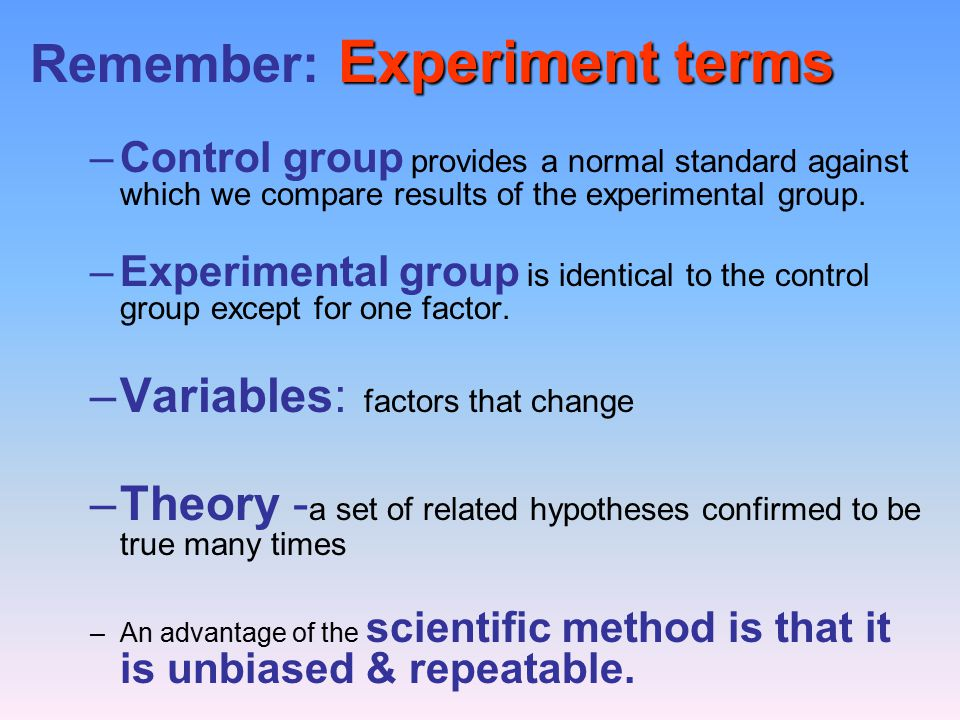 Remember: Experiment terms
