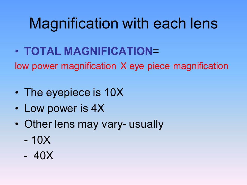Magnification with each lens