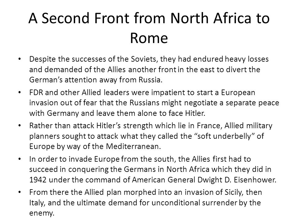 A Second Front from North Africa to Rome
