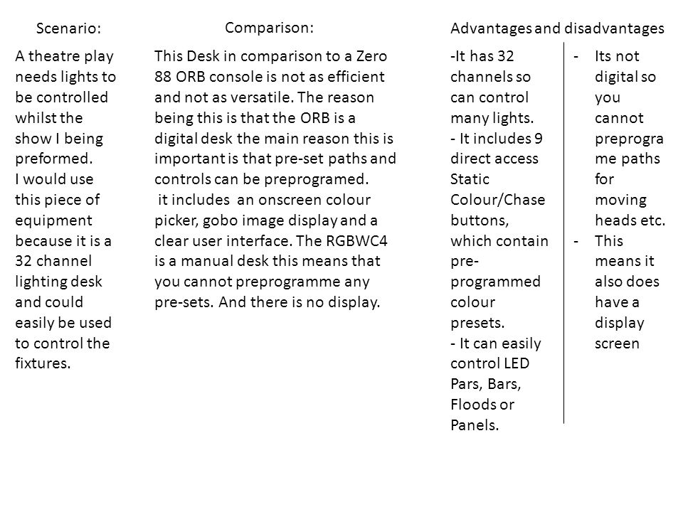 Scenario: Comparison: Advantages and disadvantages. A theatre play needs lights to be controlled whilst the show I being preformed.