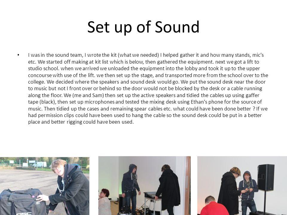 Set up of Sound