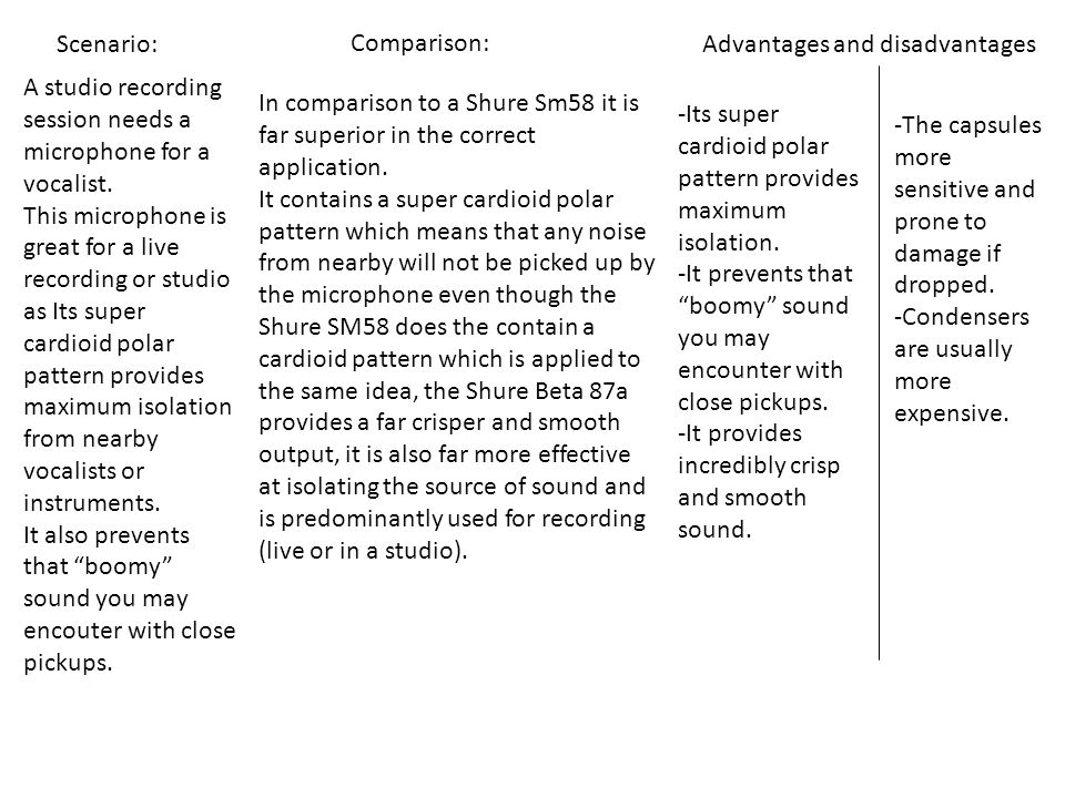 Scenario: Comparison: Advantages and disadvantages. A studio recording session needs a microphone for a vocalist.