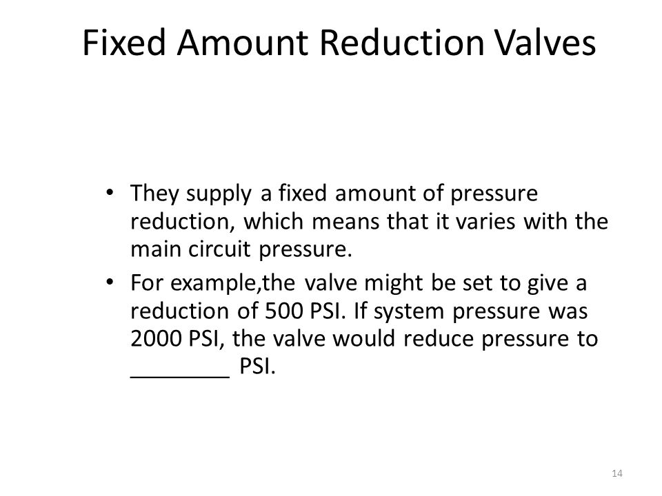 Fixed Amount Reduction Valves