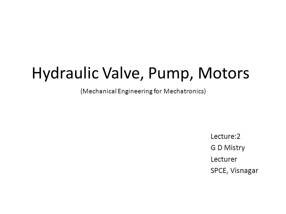Hydraulic Valve, Pump, Motors