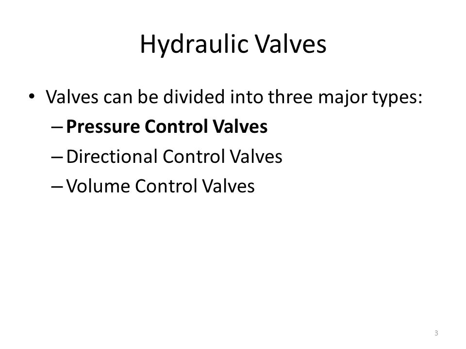 Hydraulic Valves Valves can be divided into three major types: