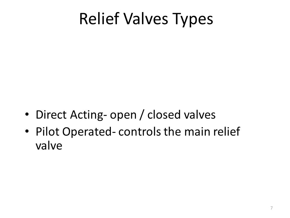 Relief Valves Types Direct Acting- open / closed valves