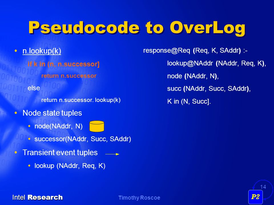Pseudocode to OverLog n.lookup(k) Node state tuples