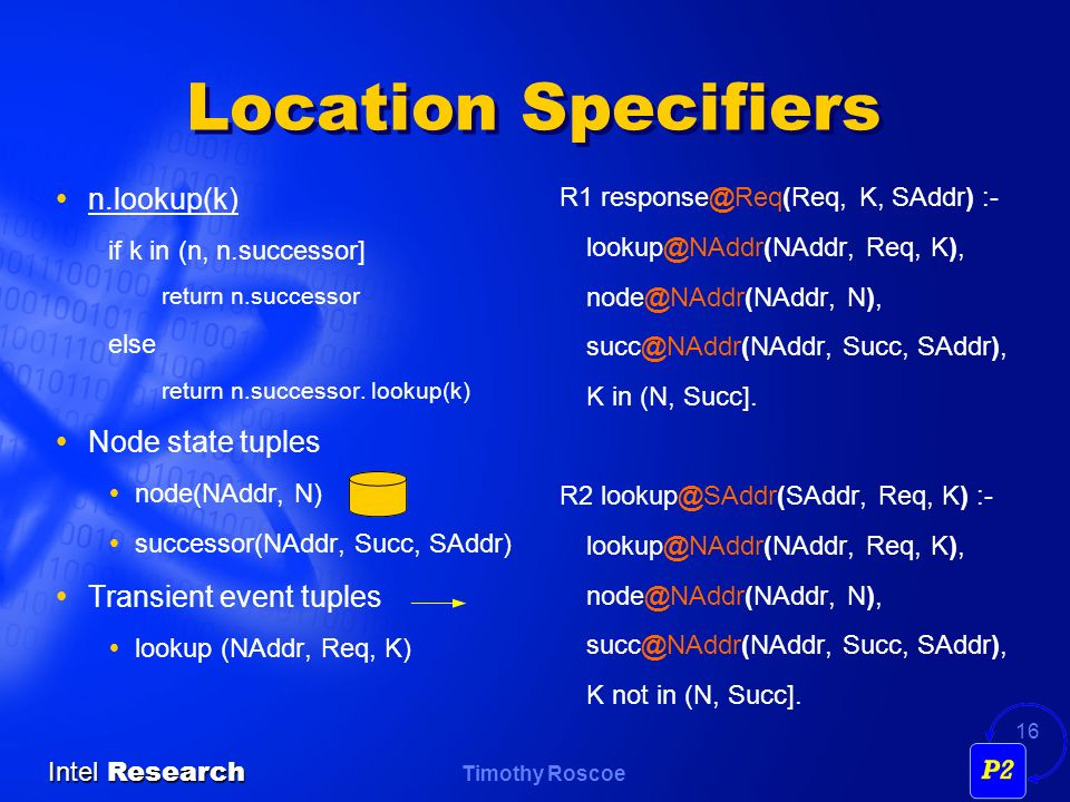 Location Specifiers n.lookup(k) Node state tuples