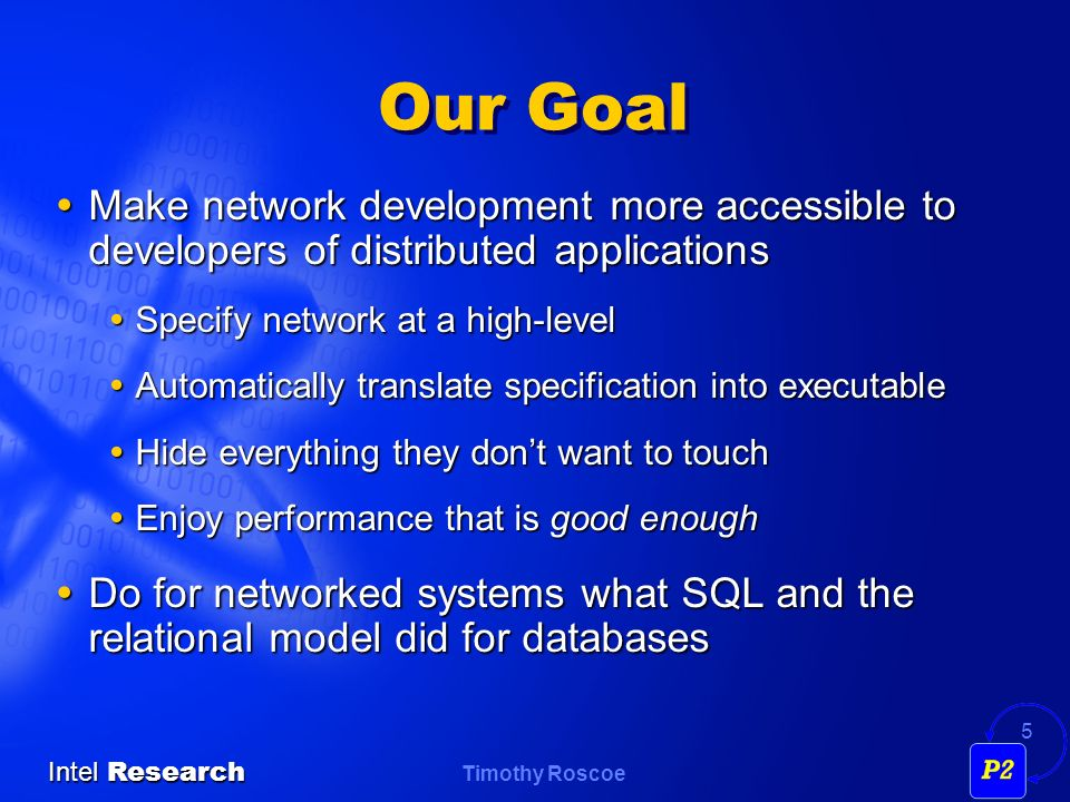 Our Goal Make network development more accessible to developers of distributed applications. Specify network at a high-level.
