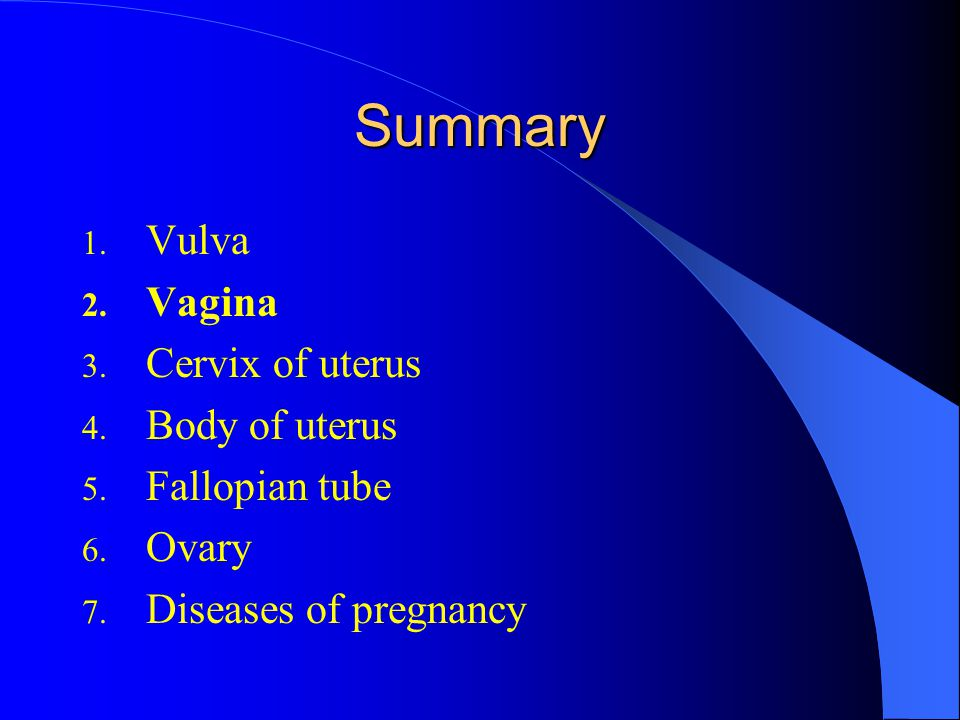 Summary Vulva Vagina Cervix of uterus Body of uterus Fallopian tube