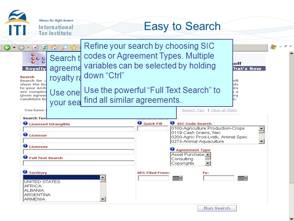 Easy to Search Refine your search by choosing SIC codes or Agreement Types. Multiple variables can be selected by holding down Ctrl