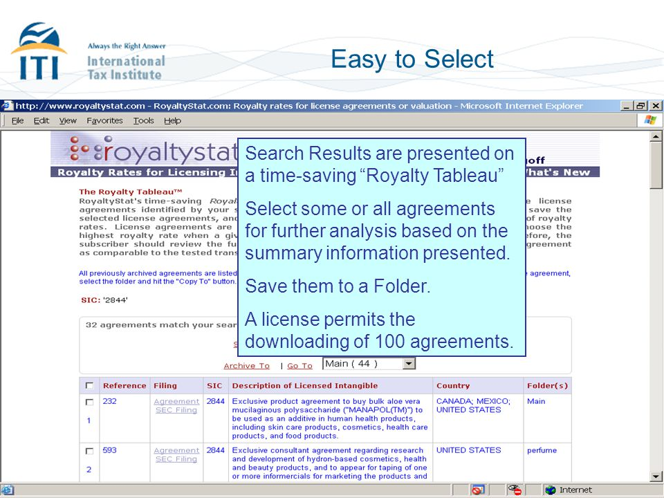 Easy to Select Search Results are presented on a time-saving Royalty Tableau