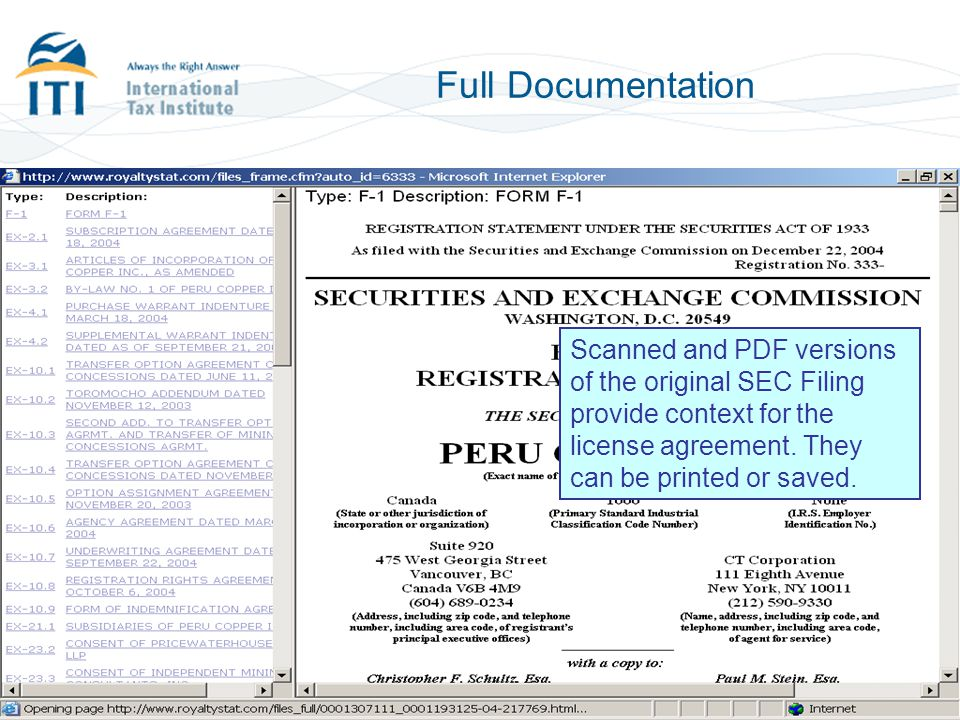 Full Documentation Scanned and PDF versions of the original SEC Filing provide context for the license agreement.