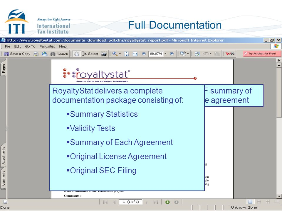 Full Documentation RoyaltyStat delivers a complete documentation package consisting of: Summary Statistics.