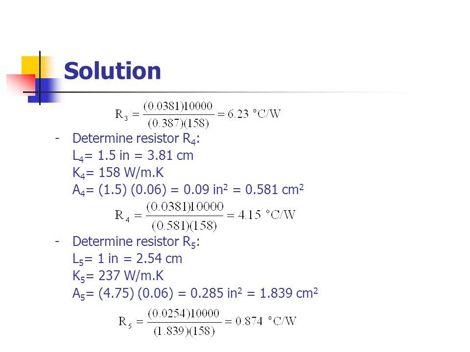 Solution - Determine resistor R4: L4= 1.5 in = 3.81 cm K4= 158 W/m.K